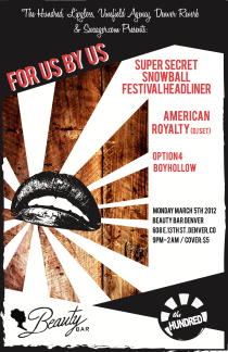2012-03-05 - Monday, March 5, 2012 - TheHundred Presents For US by US - Beauty Bar - 608 E. 13th Ave; Denver, CO 80203