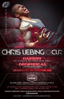 LifeMusicFun.com (Denver): Friday, November 16 // AA & Norad present ::: Chris Liebing (Official) [CLR] w/ Daegon LIVE (Machine Box) + Deciprocal (Crowdpleaser) // Norad Dance Bar // 821 22nd St, Denver, Colorado 80205