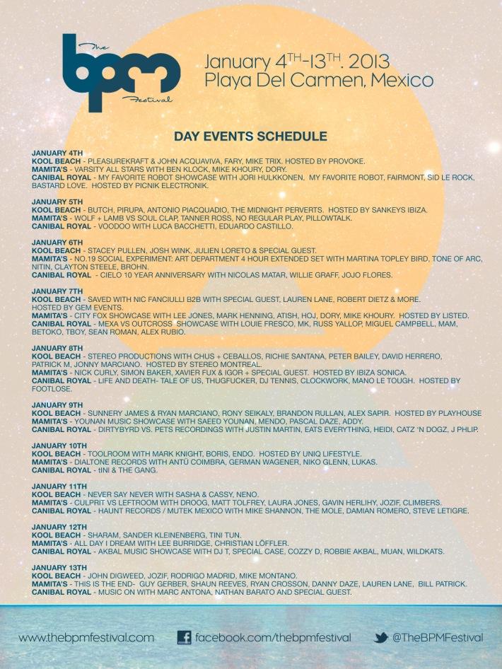 BPM Festival 2013 // Day Schedule