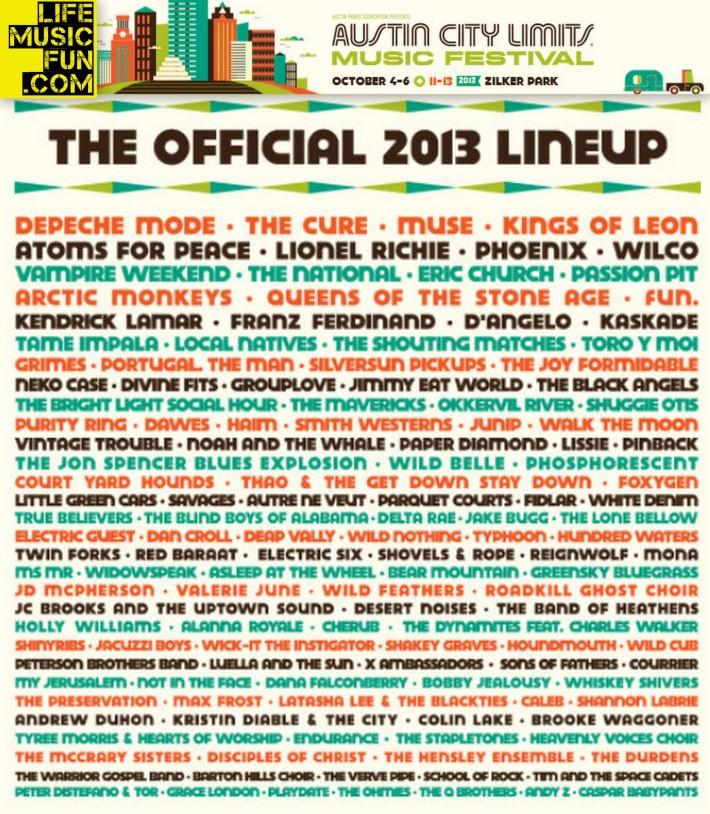 ACL Music Festival / Austin City Limits 2013   Zilker Park   Austin, Texas   October 4-6