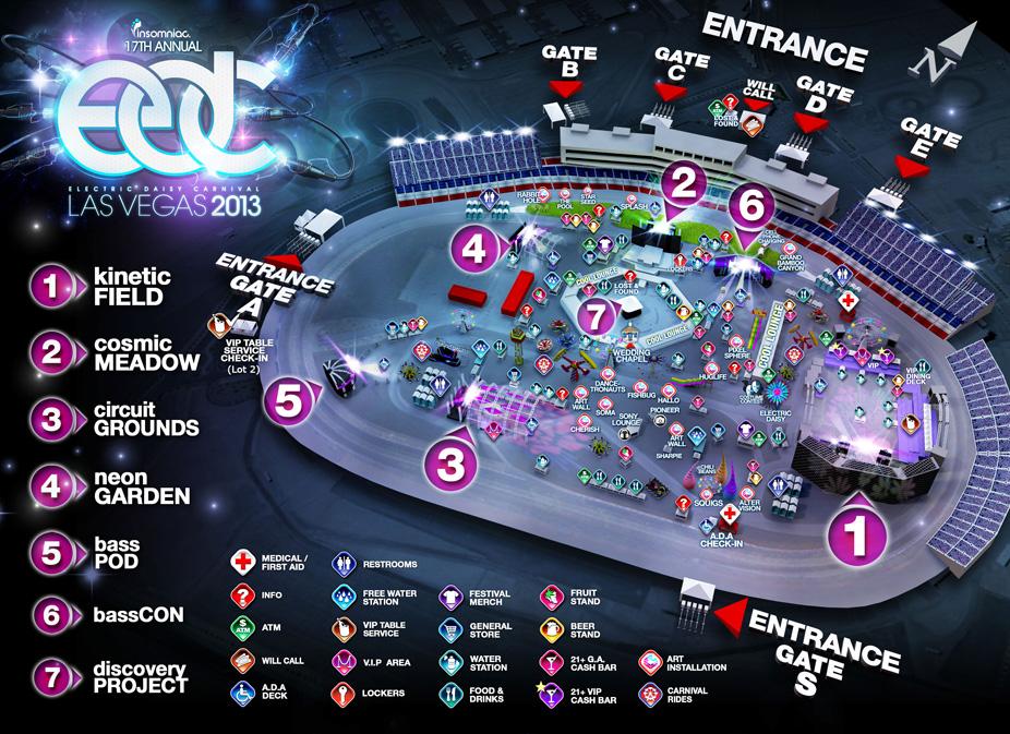 Edc electric daisy carnival 2013 schedule venue map for Las vegas motor speedway edc