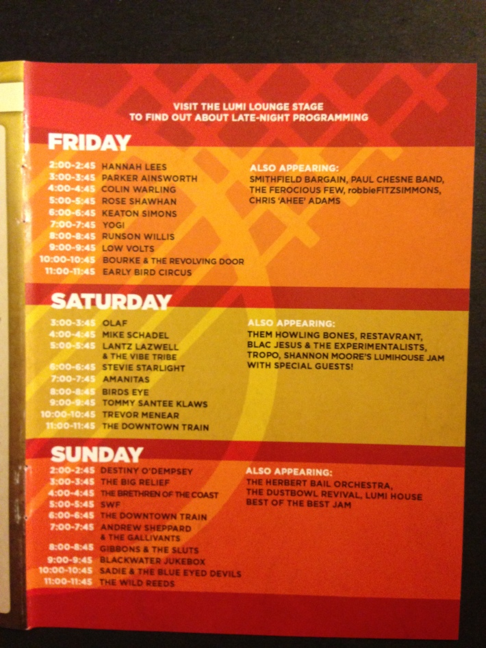 LIB 2013 Program - Lumi Lounge and Cafe Schedule