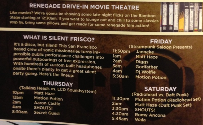 LIB 2013 Program - Silent Frisco Schedule, Renegade Drive-In Movie Theater, 1230am, Bamboo Stage