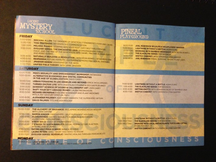 LIB 2013 Program - Temple of Consciousness, Lucent Mystery School and Pineal Playground Schedule