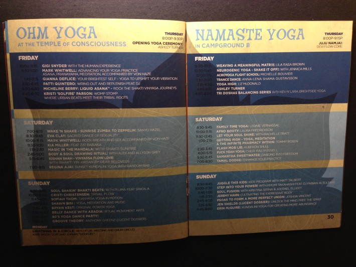 LIB 2013 Program - Yoga Schedule - Ohm (At Temple of Consciousness) and Namaste (Campground B)