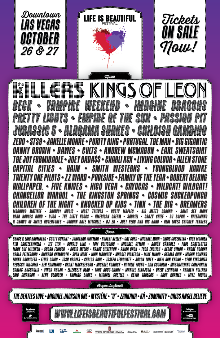 Life Is Beautiful Festival Lineup Poster