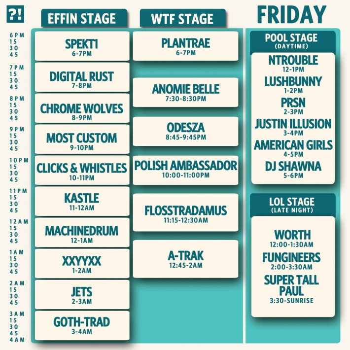 What the Festival 2013 Lineup - Friday Schedule