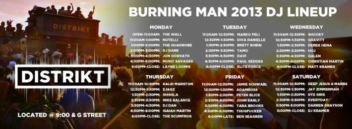 DISTRIKT Burning Man 2013 Lineup