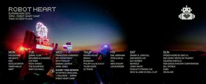 Original Robot Heart Burning Man 2013 Lineup