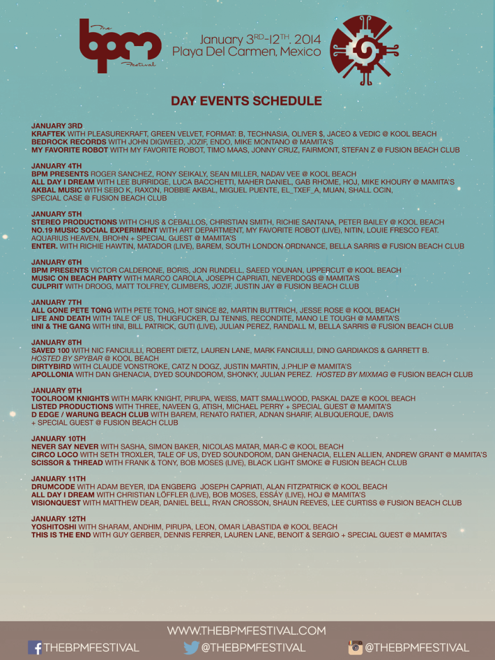 BPM Festival 2014 Day Schedule