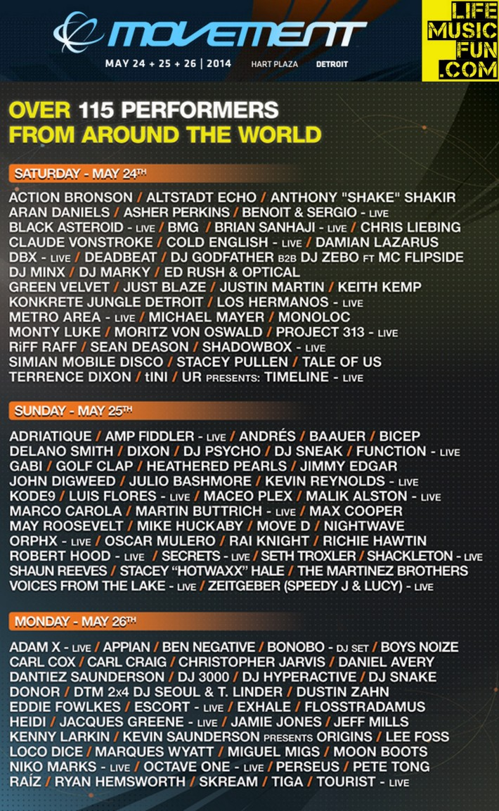 Movement 2014 Full Lineup LMF