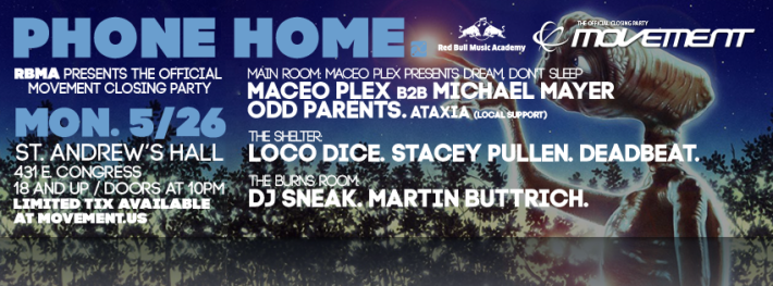 RBMA Official Movement VIP Closing Party Detroit Phone Home Maceo Plex Michael Mayer Flyer Cover