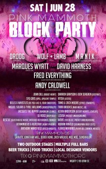Pink Mammoth Block Party Lineup Poster 2014 Mighty Andy Caldwell