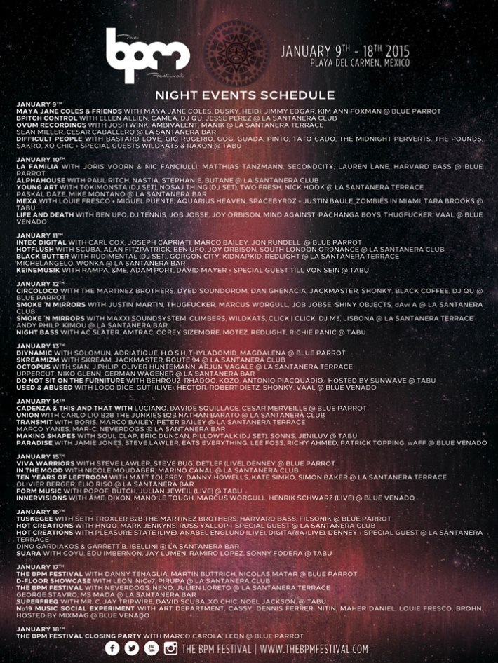 BPM Festival 2015 Night Lineup Schedule Poster