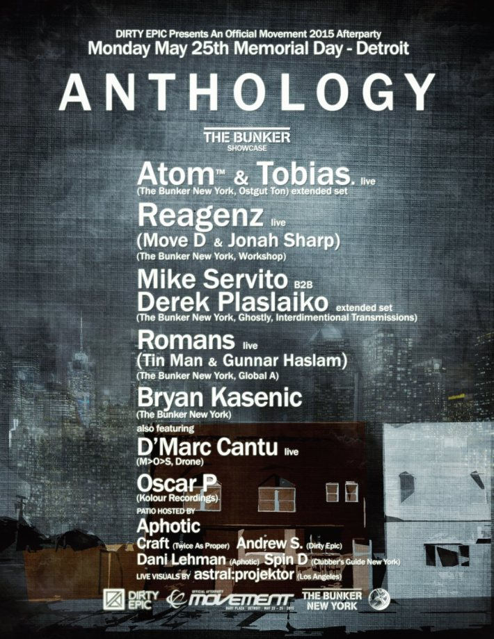 MON MAY 25 | DIRTY EPIC- ANTHOLOGY w_ ATOM & TOBIAS + REAGENZ (MOVE D AND JONAH SHARP) + MIKE SERVITO B2B DEREK PLASLAIKO + ROMANS (TIN MAN + GUNNAR HASLAM) | THE WORKS | 1846 MICHIGAN AVE
