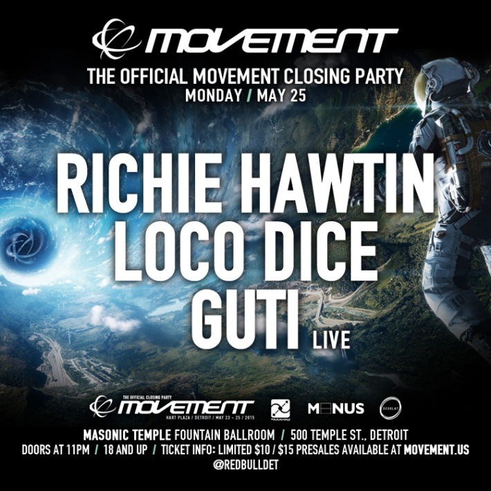 MON MAY 25 | RICHIE HAWTIN, LOCO DICE, GUTI | MASONIC TEMPLE FOUNTAIN BALLROOM | 500 TEMPLE ST