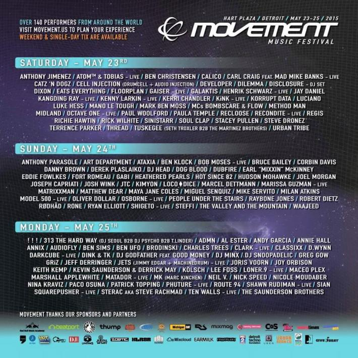 Movement 2015 Detroit 3 Day Schedule