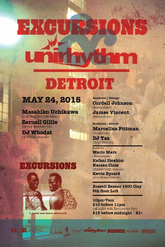 SUN MAY 24 (10PM-7AM) | EXCURSIONS- DETROIT 2015 w_ CORDELL JOHNSON + JAMES VINCENT + MARCELLUS PITTMAN + ZERNELL | RUSSEL INDUSTRIAL CENTER | 1600 CLAY ST | DETROIT MI