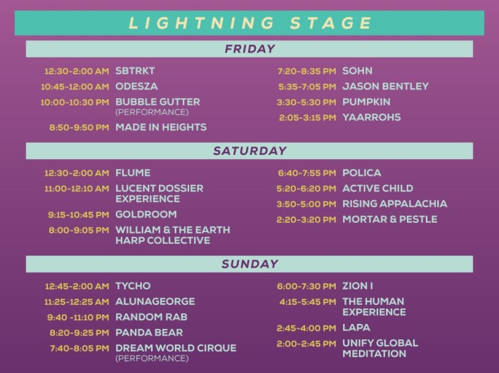 Lightning in a Bottle LIB 2015 Lightning Stage Schedule Lineup