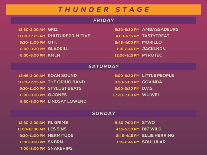 Lightning in a Bottle LIB 2015 Thunder Stage Schedule Lineup