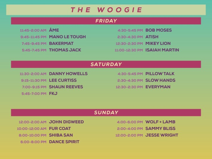 Lightning in a Bottle LIB 2015 Woogie Stage Schedule Lineup