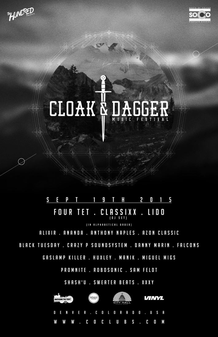 SAT SEP 19 2PM | CLOAK & DAGGER MUSIC FESTIVAL LINEUP | 4 STAGES AT CITY HALL + CLUB VINYL NEAR 11TH AND BROADWAY | DENVER CO (VERTICAL)
