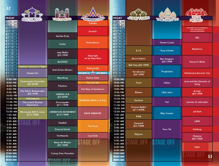 SYMBIOSIS 2015 SCHEDULE - FRIDAY